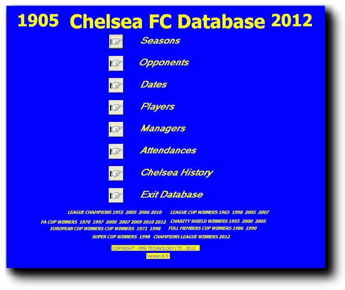 An image of the Main Menu of the 1905-2012 Chelsea FC Database