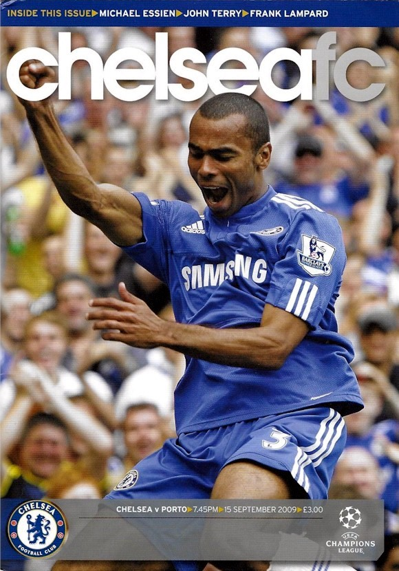 Ashley Cole on the cover of the Chelsea v. FC Porto programme from the match played on 15 September 2009