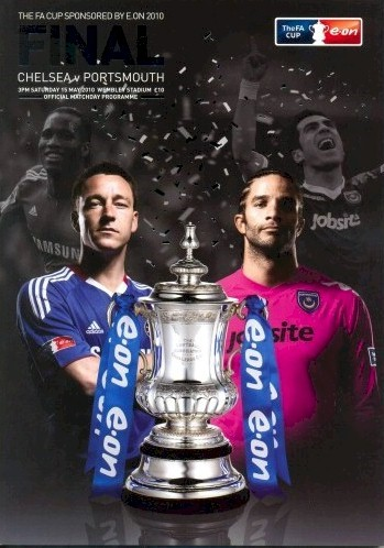 The cover of the Chelsea v. Portsmouth FA Cup Final programme from the match played on 15 May 2010