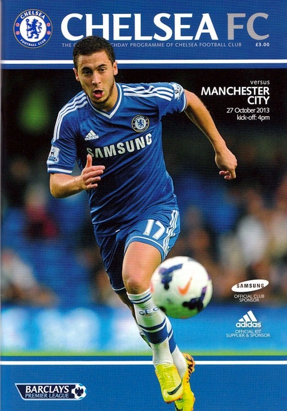 Eden Hazard on the cover of the Chelsea v. Manchester City programme from the match played on 27 October 2013