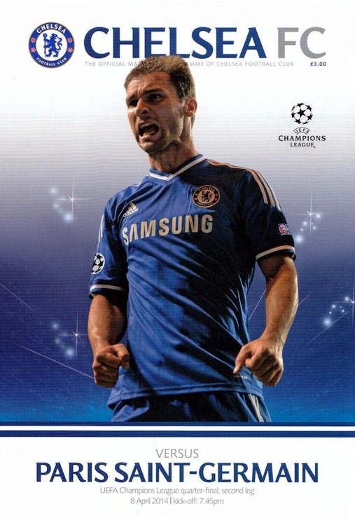 Branislav Ivanovic on the cover of the Chelsea v. Paris Saint-Germain programme from the match played on 8 April 2014