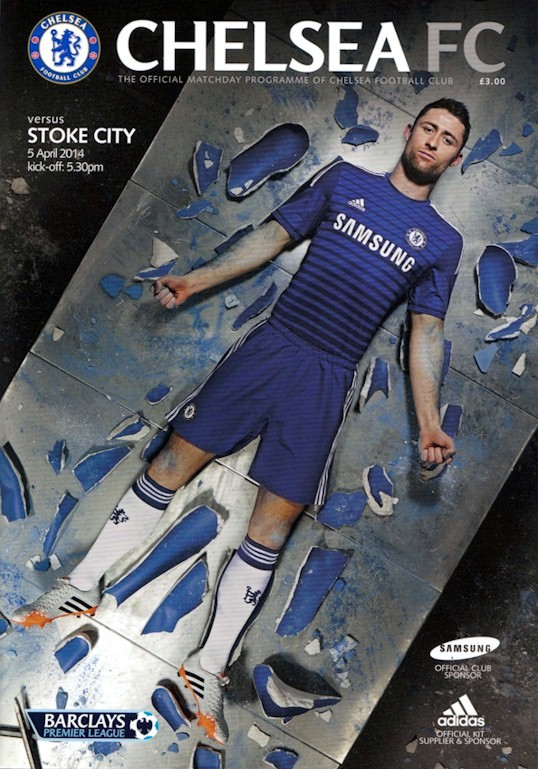 Gary Cahill on the cover of the Chelsea v. Stoke City programme from the match played on 5 April 2014