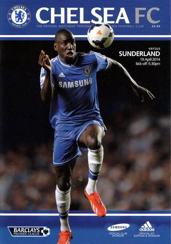 Demba Ba on the cover of the Chelsea v. Sunderland programme from the match played on 19 April 2014