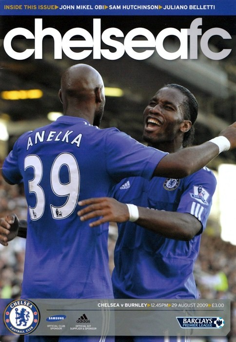 Nicolas Anelka and Didier Drogba on the cover of the Chelsea v. Burnley programme from the match played on 29 August 2009