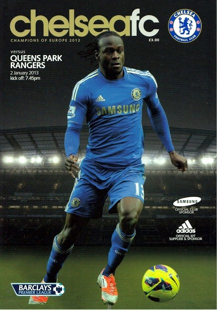 Victor Moses on the cover of the Chelsea v. Queens Park Rangers programme from the match played on 2 January 2013