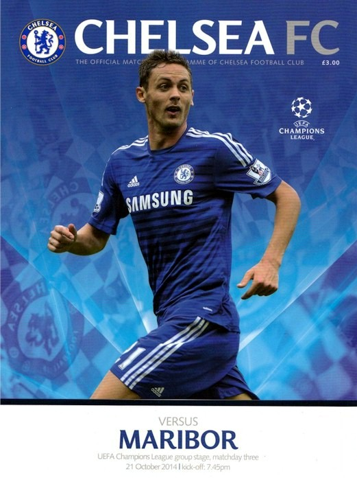 Nemanja Matic on the cover of the Chelsea v. Maribor programme from the match played on 21 October 2014