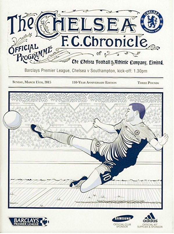The cover of the Chelsea v. Southampton programme from the match played on 3 October 2014