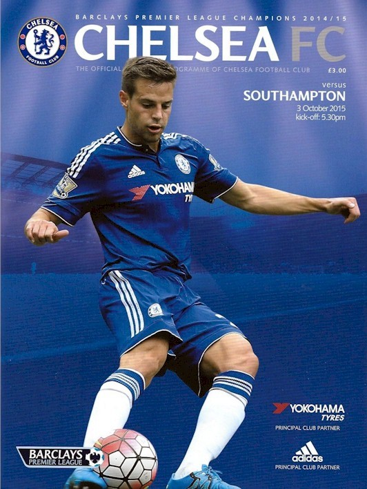 Cesar Azpilicueta on the cover of the Chelsea v. Southampton programme from the match played on 3 October 2015