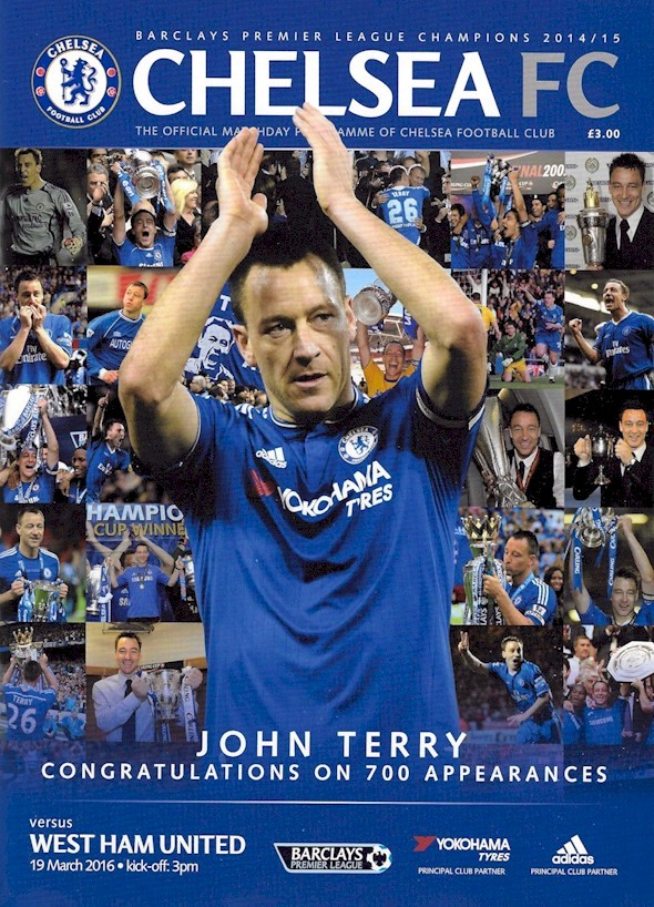 John Terry on the cover of the Chelsea v. West Ham United programme from the match played on 19 March 2016