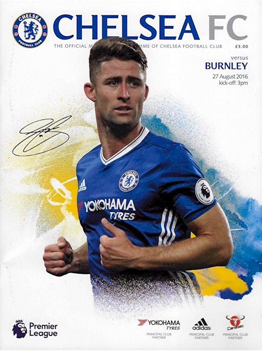 Gary Cahill on the cover of the Chelsea v.Burnley programme from the match played on 27 August 2016