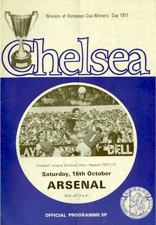The cover of the Chelsea v. Arsenal programme from the match played on 16 October 1971