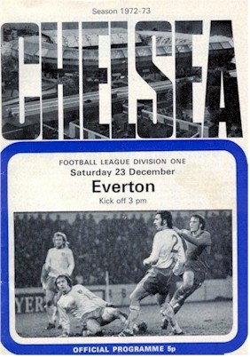 The Cover of the Chelsea v. Everton programme from the match played on 23 December 1972