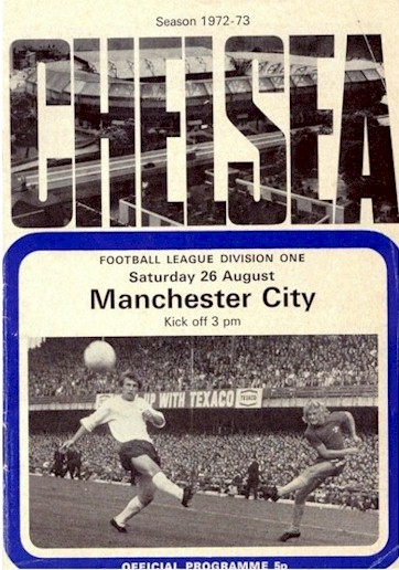 The cover of the Chelsea v. Manchester City programme from the match played on 26 August 1972