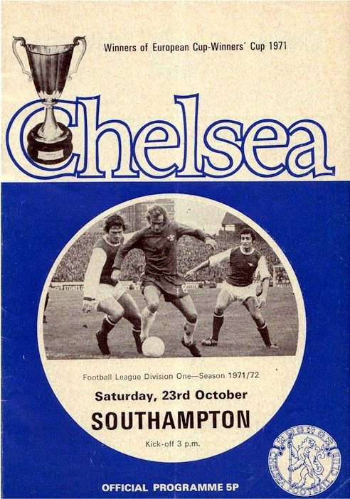Tommy Baldwin on the cover of the Chelsea v. Southampton programme from the match played on 23 October 1971