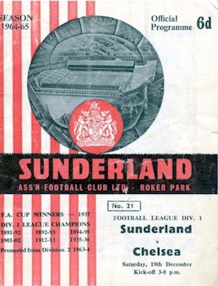 The cover of the Sunderland v. Chelsea programme from the match played on 19 December 1964